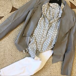 Grey with white polka dots silky button down sz S